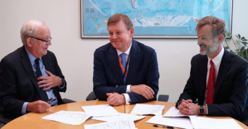 (From left to right) UNICEF Executive Director Anthony Lake, Royal Dutch DSM Chief Executive Officer Feike Sijbesma, and Sight and Life Foundation board member Fokko Wientjes smile after signing an agreement to renew their partnership, following a bilateral meeting between UNICEF and Royal Dutch DSM at UNICEF House in New York City, United States of America, Monday 18 September 2017. The UNICEF and DSM partnership began in 2011 in order to increase access to vital nutrients in the critical first 1,000 days of a child's life. The renewed contract will take the partnership to 2020, and will focus on scaling up the micronutrient powder programme in Nigeria and on global advocacy.<br />  Royal Dutch DSM is a global science-based company active in health, nutrition and materials sciences. The Sight and Life Foundation (SAL) is a humanitarian nutrition think tank championing the global fight against malnutrition by advancing research, sharing best practices and mobilizing support. SAL is supported by Royal Dutch DSM.