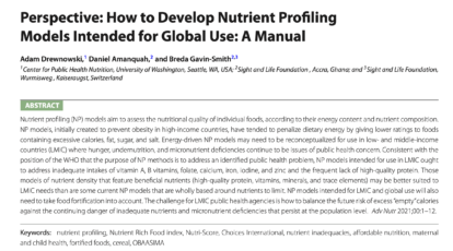 Nutrient Profiling, Sight and Life